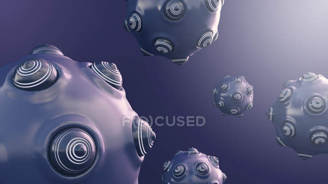 Close-up of Floating spherical objects with protrusions — Stock Photo