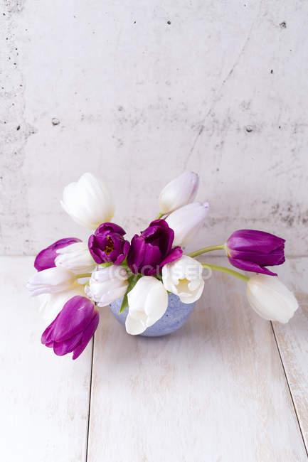 Tulipanes frescos cortados en jarrón - foto de stock