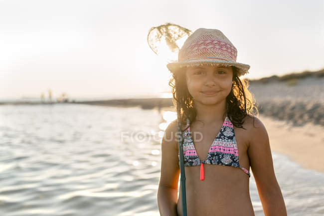 Portrait of little girl on the beach, Son Bou beach, Balearic Islands, Spain — Stock Photo
