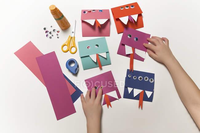 Selbstgemachte Monster-Einladungskarten — Stockfoto