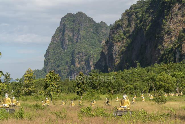 Landschaft mit Buddha Statuen und Karstformationen, Hpa-an, Myanmar, Asien,  landscape with karst mountains and buddha statues,  Hpa-an, , Hpa-an, Myanmar, Asia — Foto stock