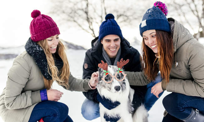 Asturias, Spain, three friends having fun with their border collie in the snow — Stock Photo
