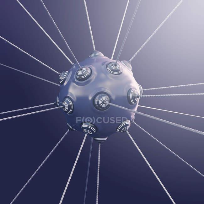 Objeto esférico con cuerdas que emergen de protuberancias - foto de stock
