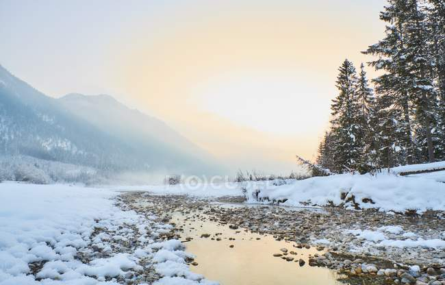 View of rives on snow field and hills on background — Stock Photo