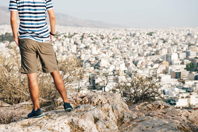 Athens, Greece, man looking at citscape — Stock Photo