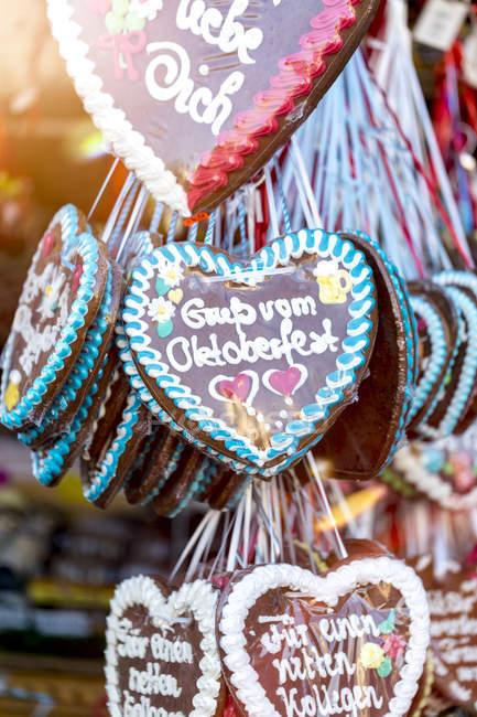 Germany Munich Gingerbread Hearts At Oktoberfest Baked Goods