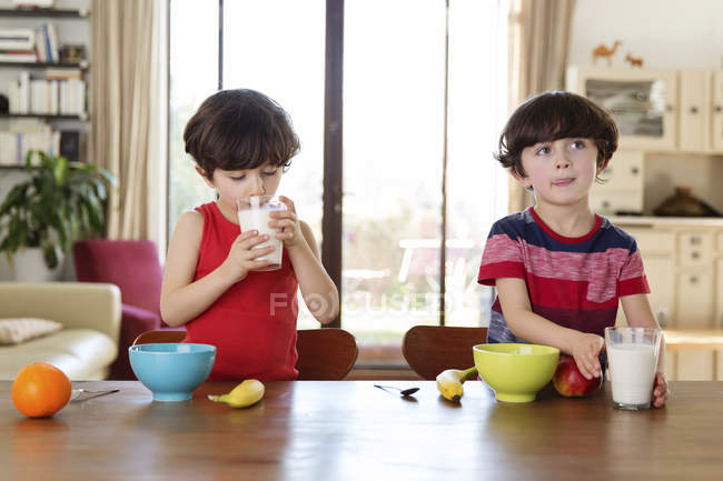 Twin brothers drinking milk — Stock Photo