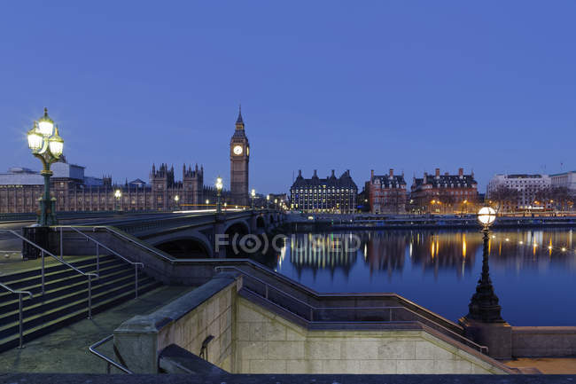 Palace of Westminster, Houses of Parliament and Big Ben, Westminster Bridge, Londres, Inglaterra, Reino Unido, Europa — Fotografia de Stock