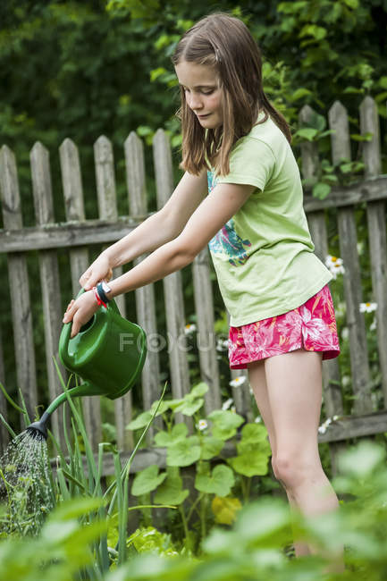 Girl watering vegetables in the garden — Stock Photo