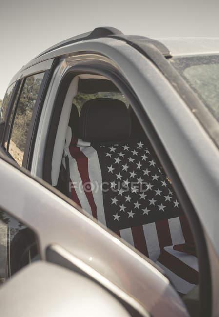 Bandeira americana tampa do assento do carro — Fotografia de Stock