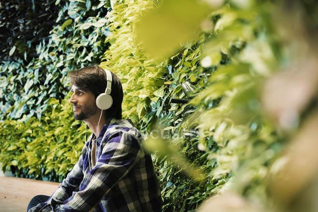 Joven sentado frente a la pared verde de la planta, con auriculares - foto de stock