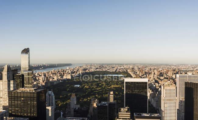 Vue aérienne cityscape USA, New York, à la lumière du matin — Photo de stock