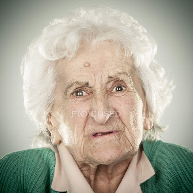 Portrait of an elderly lady — Stock Photo