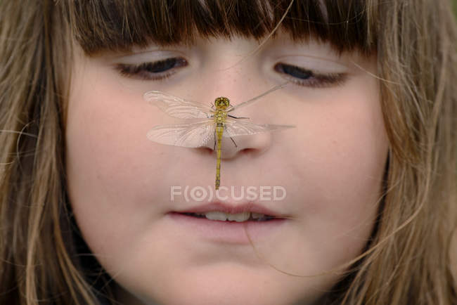 Girl watching dragonfly sitting on nose, portrait — Stock Photo