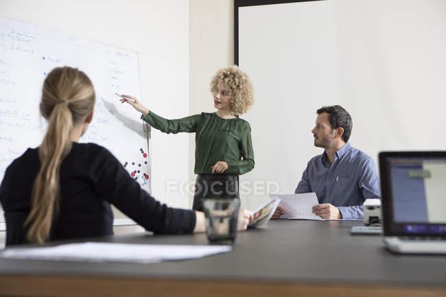 Confident businesswoman in boardroom leading a presentation — Stock Photo