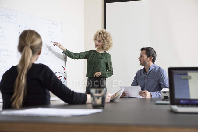 Confident businesswoman in boardroom leading a presentation — Stock Photo