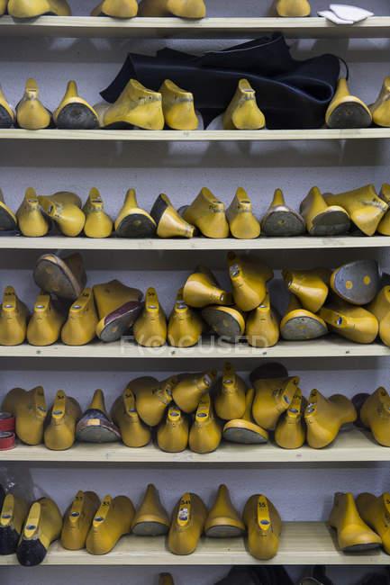 Sapato dura na prateleira na oficina sapateiro — Fotografia de Stock
