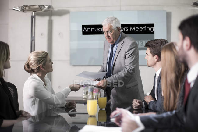 Business partners discussing business transaction in meeting — Stock Photo