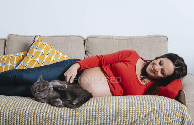 Happy pregnant woman lying on the couch with cat — Stock Photo