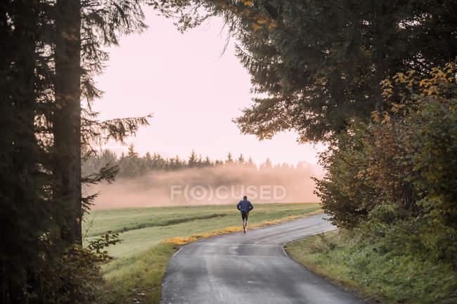 Вид сзади человека, совершающего пробежку по проселочной дороге вечером — стоковое фото
