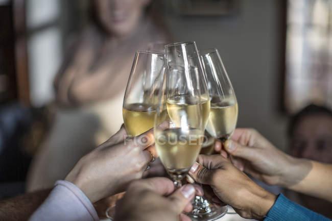 Групи друзів, що підвищення тост з чарки — стокове фото