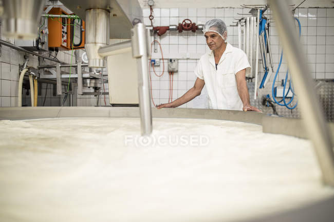Cheese factory worker controlling curdling process — Stock Photo
