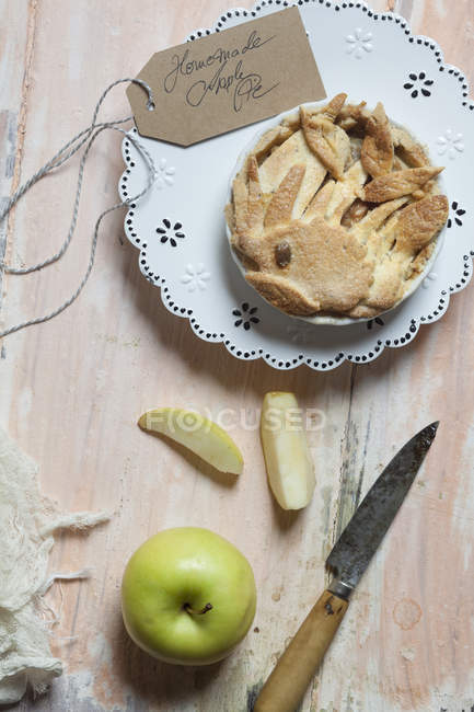 Top view of Homemade apple pie on table — Stock Photo