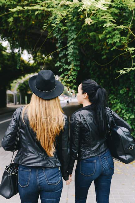 Rückansicht der zwei modische Freunde — Stockfoto