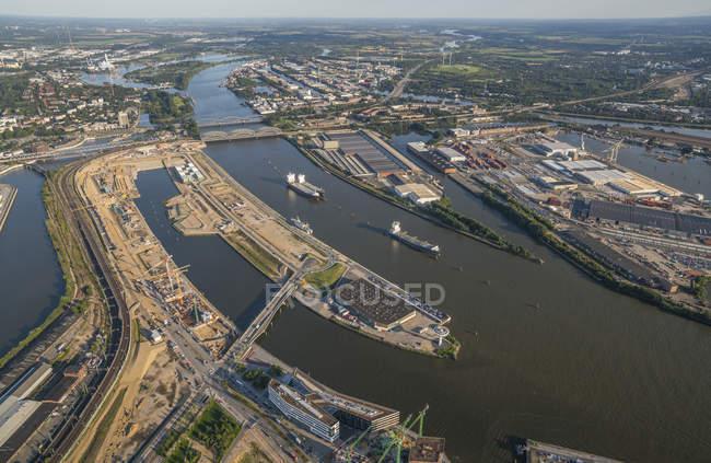Harbor with Elbe bridges in Hamburg — Stock Photo