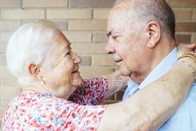 Senior couple face to face, closeup — Stock Photo