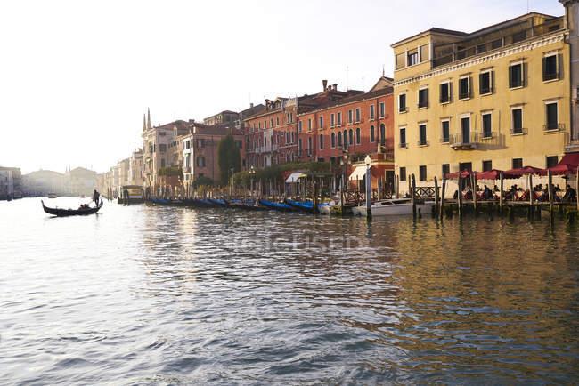Italy, Venice, gondola at Grand Canal at sunset — Stock Photo