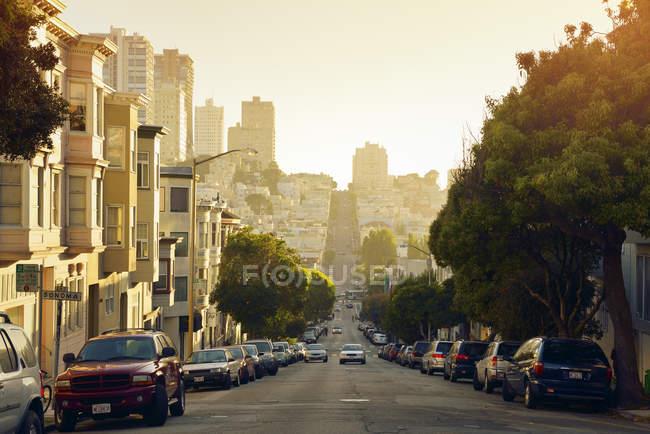 США, Каліфорнія, Сан-Франциско, міський пейзаж Sunset переглянути з рух на вулиці Союз — стокове фото