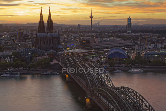 Germany, Cologne, view to the city from above at evening twilight — Stock Photo