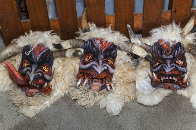 Handcrafted Wooden Krampus Masks Color Image Three Objects