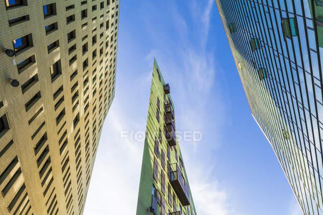 Низький кут зору сучасних будівель проти синього неба, Голландія — стокове фото