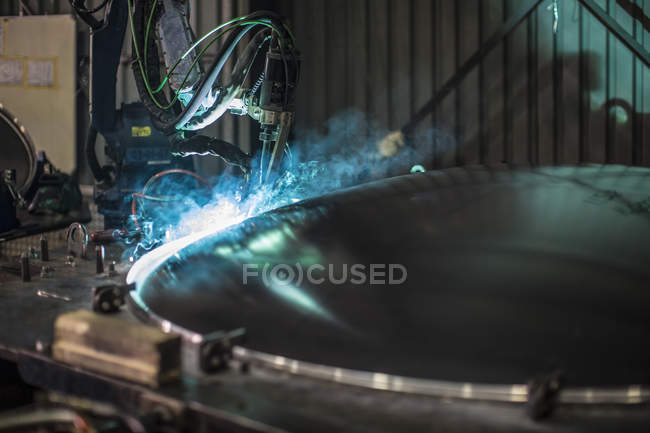 Cape Town, South Africa, Industrial lathe cutting stee — Stock Photo