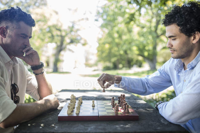 Кейптаун, ЮАР, двое мужчин играют в шахматы с другом за пределами леса с деревьями — стоковое фото