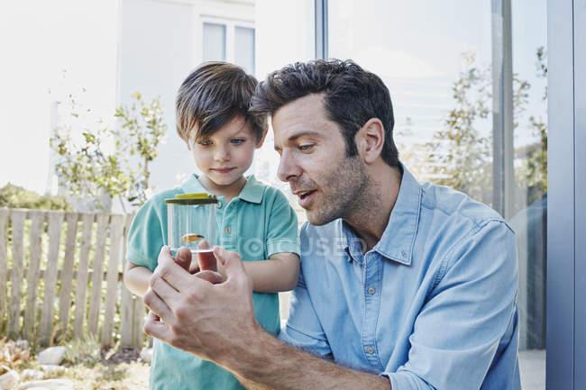 Батько і син лову разом крикет — стокове фото