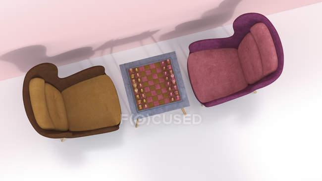 Sessel im Retro-Stil mit Schachbrett auf Couchtisch — Stockfoto