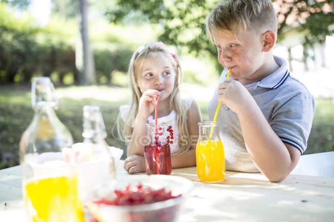 Сестра и брат пьют домашний лимонад за садовым столом — стоковое фото