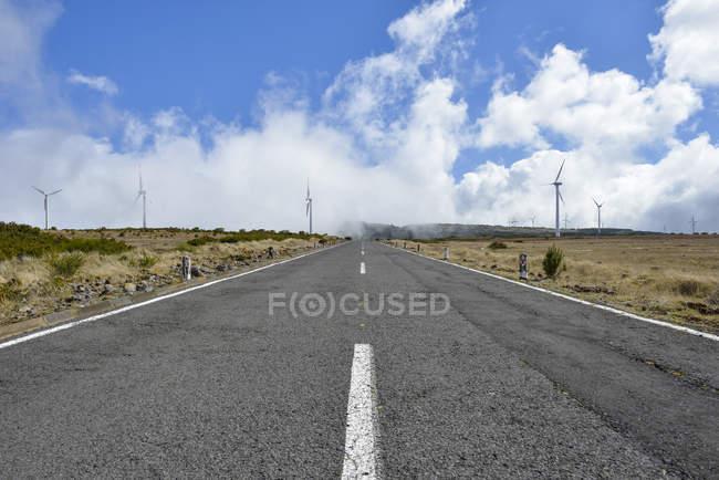 Portugal, Madeira, camino a la central alta meseta de Paul da Serra, turbinas eólicas sobre fondo - foto de stock