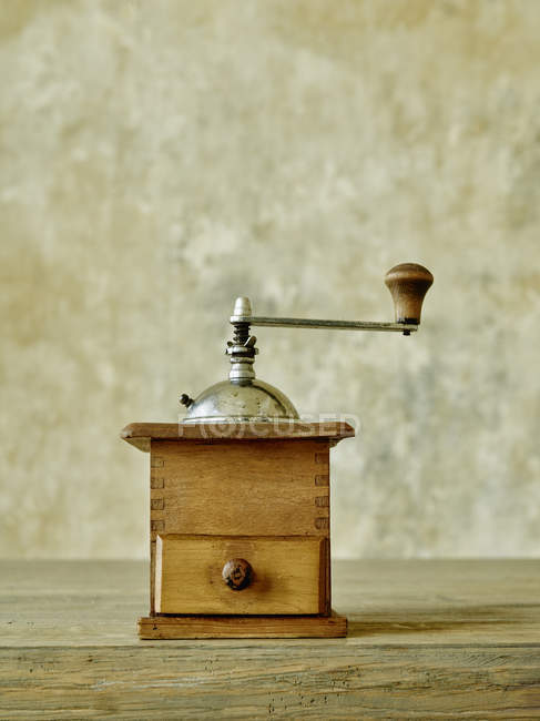 Close up of Old wooden coffee mill — Stock Photo
