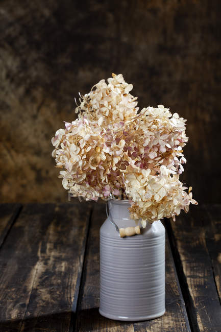 Closeup view of dried hydrangea bouquet in milk churn as vase — Stock Photo