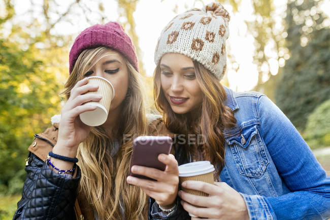 Two best female friends using the smartphone in park in autumn — Stock Photo