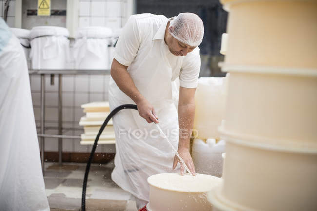 Cheese factory worker cleaning containers with hose — Stock Photo
