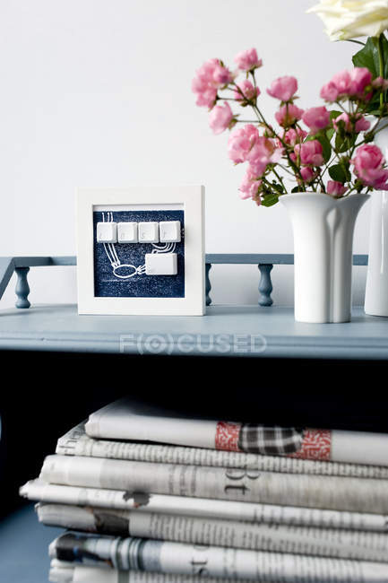 Upcycling of old computer keys in picture frame — Stock Photo