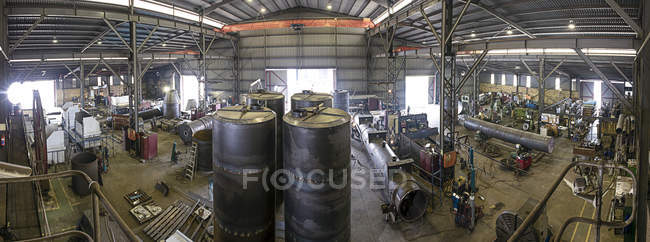 Panoramic view of factory workshop of steel factory — Stock Photo