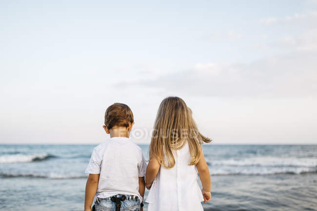 Rear view of cute caucasian little brother and sister having fun on sandy beach — Stock Photo