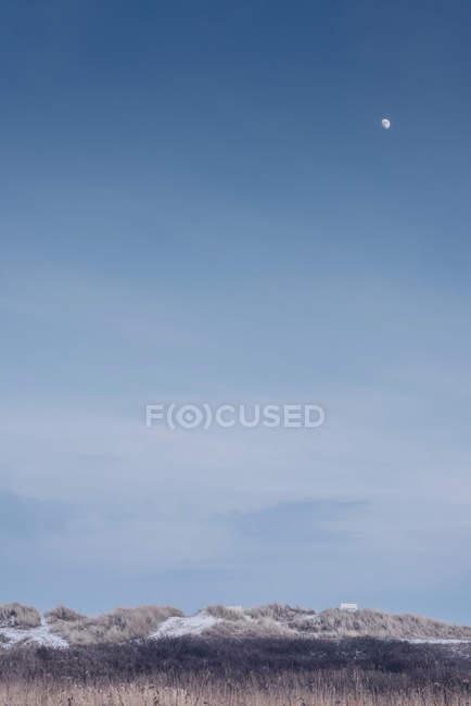 Dänemark, Hals, Mond im blauen Himmel über Dünen — Stockfoto