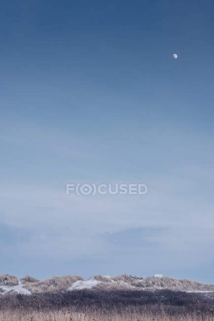 Denmark, Hals, moon in blue sky over dunes — Stock Photo